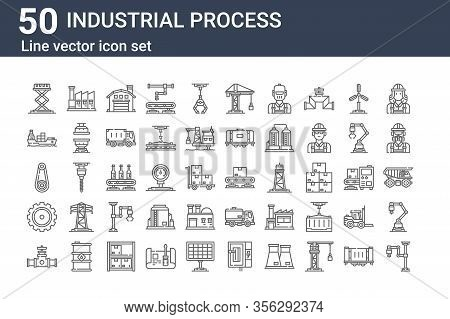Set Of 50 Industrial Process Icons. Outline Thin Line Icons Such As Industrial Robot, Valve, Gear, G