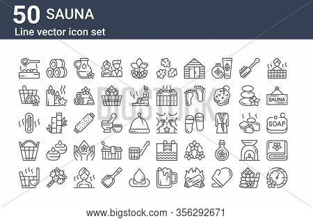 Set Of 50 Sauna Icons. Outline Thin Line Icons Such As Pressure, Bucket, Bucket, Thermometer, Bucket