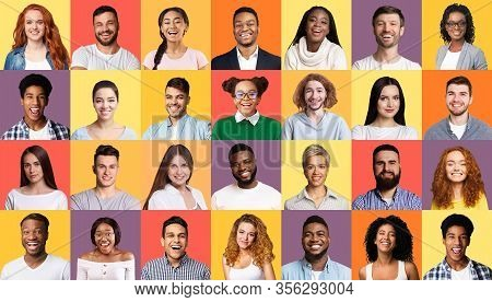 Collage Of Portraits. Faces Of Multiracial Successful Millennials People Smiling To Camera Posing On