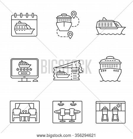 Cruise Linear Icons Set. Summer Voyage. Cruise Ships, Trip Routes, Treadmills, Excursion Tickets, On