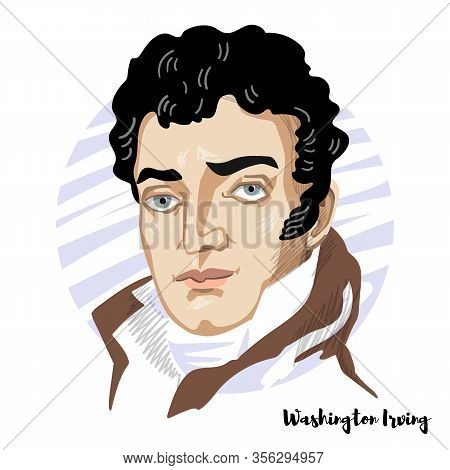 Washington Irving Engraved Vector Portrait With Ink Contours. American Short Story Writer, Essayist,