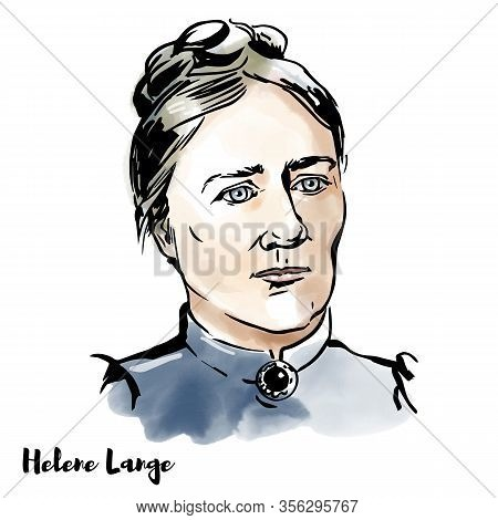 Helene Lange Engraved Watercolor Vector Portrait With Ink Contours. Pedagogue And Feminist. She Is A