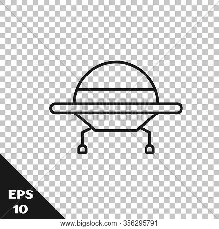 Black Line Ufo Flying Spaceship Icon Isolated On Transparent Background. Flying Saucer. Alien Space