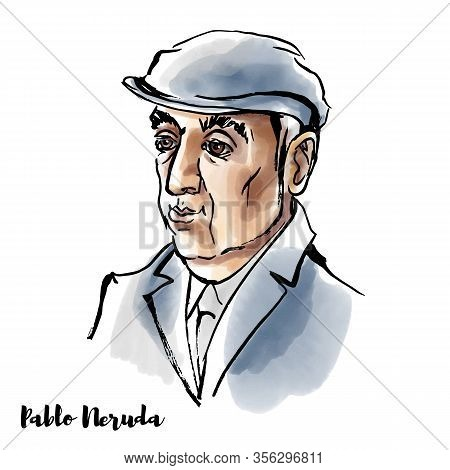 Pablo Neruda Watercolor Vector Portrait With Ink Contours. Nobel Prize Winning Chilean Poet-diplomat