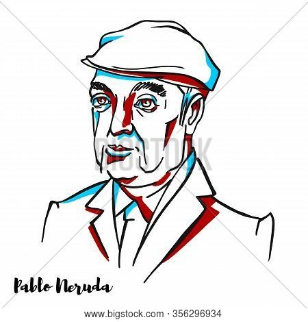 Pablo Neruda Engraved Vector Portrait With Ink Contours. Nobel Prize Winning Chilean Poet-diplomat A