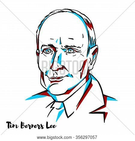 Tim Berners Lee Engraved Vector Portrait With Ink Contours. English Engineer And Computer Scientist,