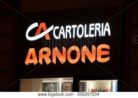 Palermo, Sicily - February 8, 2020: The Cartoleria Arnone Stationery Store Which Sells Paper Goods A