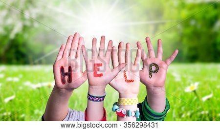 Children Hands Building Word Help, Grass Meadow
