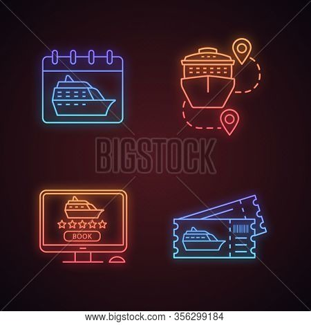 Cruise Neon Light Icons Set. Travel Agency. Cruise Departure Date, Trip Routes, Online Booking, Shor