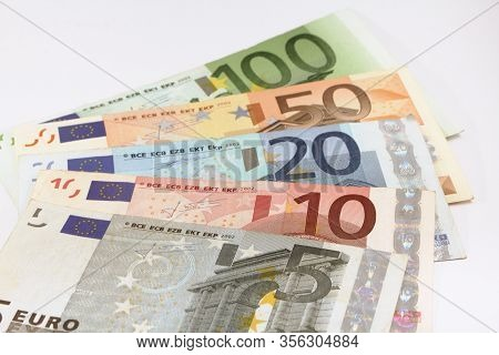 Set Of Euro Bills On White Background, Euro Currency Money, Euro Bills