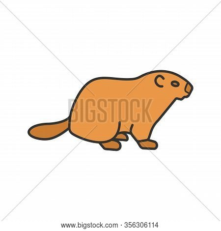 Groundhog Day Color Icon. Woodchuck. February 2nd. Isolated Vector Illustration