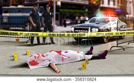 A Crime Scene With A Dead Body And Yellow Tape In Foreground,  In North America, 3d Render Illustrat