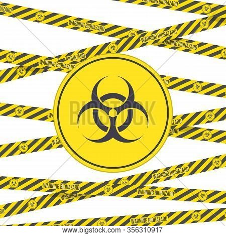 Biohazard Icon, Black And Yellow Danger Stripes. Warning Sign Of Virus With Hazard Tapes. Vector Bio