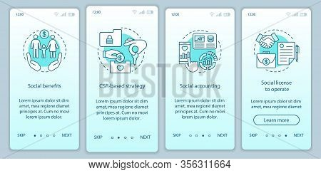 Csr Onboarding Mobile App Page Screen Vector Template. Corporate Social Responsibility Walkthrough W