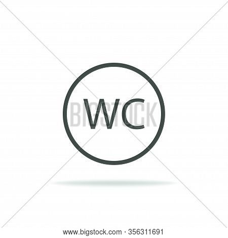 Wc Toilet. Restroom Icon In Flat Design With Shadow. Public Washroom. Vector Eps 10