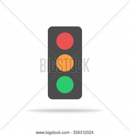 Traffic Light In Flat Design To Regulate Speed On Crossroad. Isolated Street Stoplight. Vector Eps 1
