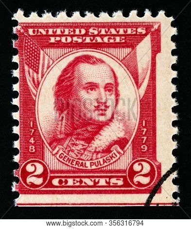 Usa - Circa 1931: A Stamp Printed In Usa Issued For The 150th Anniversary Of The Death Of General Ca