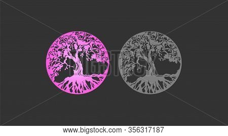 Beautiful Set Of The Tree Of Life Pink Gradient And Gray Silhouette Of A Tree With Roots Set. Amulet