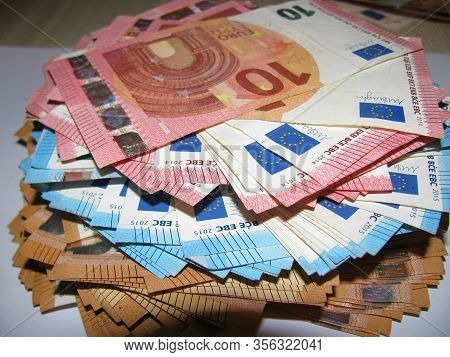 Pile Of Paper Euro Banknotes As Part Of The United Country Payment System, Euro European Currency -