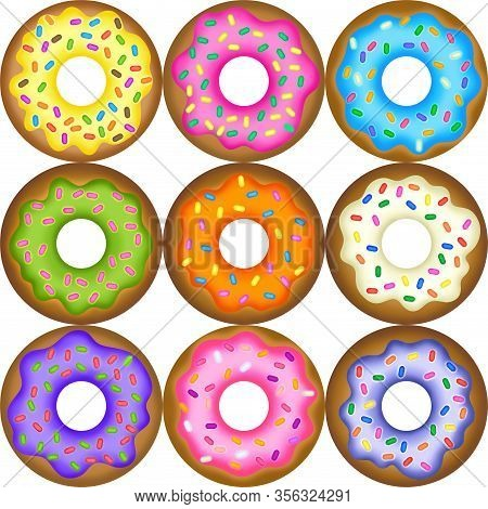 Really Tasty Iced Doughnuts With Sweet Sprinkles.