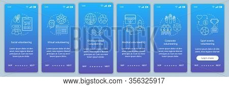Volunteering Types Onboarding Mobile App Page Screen Vector Template. Volunteer Opportunities Walkth