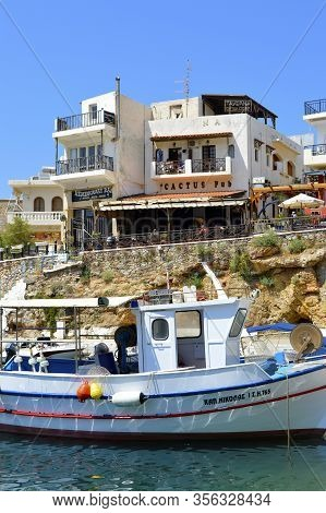 Sissi Crete, Greece - June 11, 2019 : Sissi Harbour In Crete The Largest And Most Populated Of The G