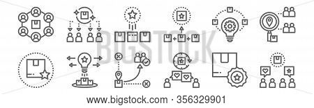 Set Of 12 Brand Positioning Icons. Outline Thin Line Icons Such As Communication, Customer Loyalty,