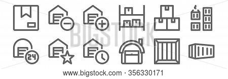 Set Of 12 Warehouse Icons. Outline Thin Line Icons Such As Container, Warehouse, Warehouse, Shipping
