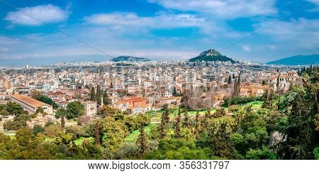 Athens / Greece - March 14 2020: Panorama Of The City From The Areopagus Hill.