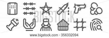 Set Of 12 Police Icons. Outline Thin Line Icons Such As Fingerprint, Jail, Hands, Gun, Sheriff, Barb