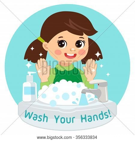 Cute Young Girl Washing Hands In The Sink. Vector Illustration Of Washing Hands With Antibacterial H