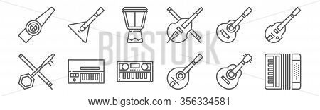 Set Of 12 Music Instruments Icons. Outline Thin Line Icons Such As Accordion, Mandolin, Clavinet, Sp