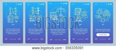 Business Concepts Onboarding Mobile App Page Screen Vector Template. Csr. Corporate Principles. Busi