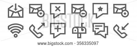 Set Of 12 Communication Icons. Outline Thin Line Icons Such As Incoming Call, Mailbox, Outcoming Cal