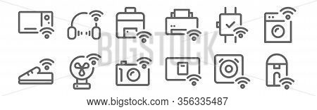 Set Of 12 Internet Of Things Icons. Outline Thin Line Icons Such As Kettle, Switch, Fan, Smartwatch,