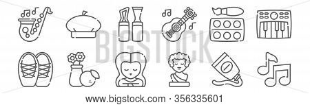 Set Of 12 Fine Arts Icons. Outline Thin Line Icons Such As Quaver, Sculpture, Still Life, Watercolor