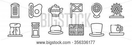 Set Of 12 United Kingdom Icons. Outline Thin Line Icons Such As Tea, United Kingdom, Mailbox, United