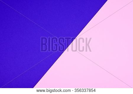 Two Tone Of Ultramarine And Pink Paper Background. Trend Colors Concept.