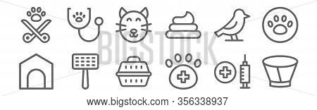 Set Of 12 Veterinary Icons. Outline Thin Line Icons Such As Elizabethan Collar, Veterinary, Pet Brus
