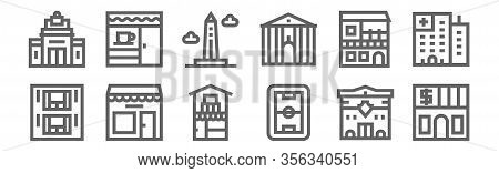 Set Of 12 Urban Building Icons. Outline Thin Line Icons Such As Bank, Stadium, Store, House, Obelisk