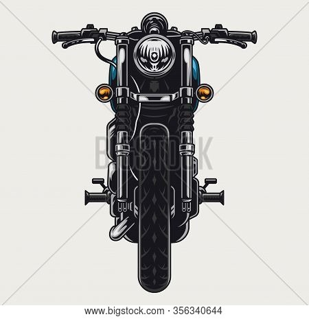 Colorful Motorcycle Front View Concept In Vintage Style Isolated Vector Illustration