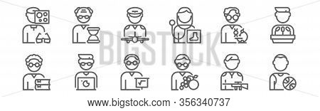 Set Of 12 Man Worker Avatar Icons. Outline Thin Line Icons Such As Basketball Player, Nutritionist,