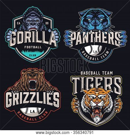 Colorful Sports Teams Logotypes Set With Ferocious Animals Mascots Holding Football And Baseball Clu