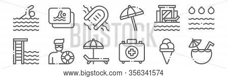 Set Of 12 Swimming Pool Icons. Outline Thin Line Icons Such As Coconut Drink, First Aid Kit, Lifegua