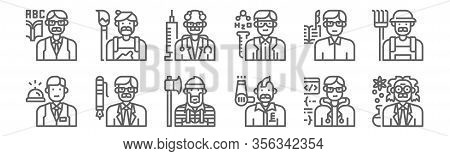 Set Of 12 Professions And Occupation Icons. Outline Thin Line Icons Such As Scientist, Hairstylist,