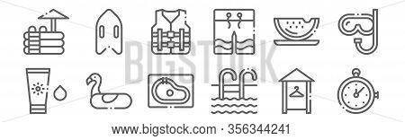 Set Of 12 Swimming Pool Icons. Outline Thin Line Icons Such As Stopwatch, Swimming Pool, Inflatable,