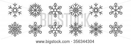 Set Of 12 Snowflakes Icons. Outline Thin Line Icons Such As Snowflake, Snowflake, Snowflake,