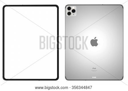 Bangkok, Thailand -march 2020: Digital Tablet Balnk Screen Mock Up On White Background With Clipping