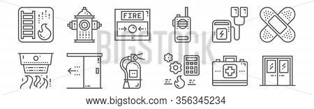 Set Of 12 Emergency Icons. Outline Thin Line Icons Such As Exit Door, Engineering, Door, Defibrillat