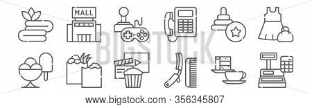 Set Of 12 Mall Icons. Outline Thin Line Icons Such As Cashbox, Shave, Food, Toy, Recreational, Mall